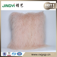 Vente chaude rose couleur fourrure d'agneau mongol décoratif Coussins