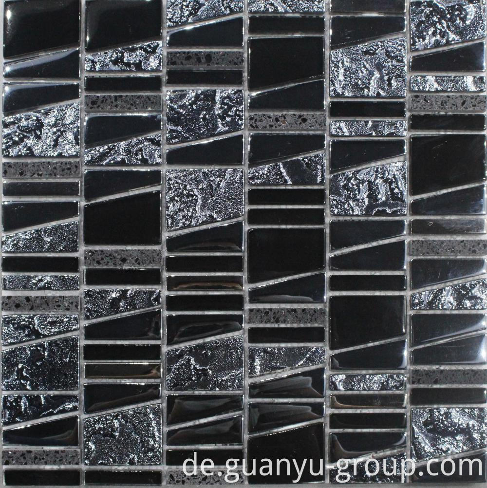 Black Glossy And Bumpy Mosaic Tile