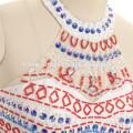 2017 Amazon vente chaude robe de soirée élégante couleur blanche lourde perlée 2 pcs ensemble de modèles de robe de demoiselle d'honneur avec queue de poisson