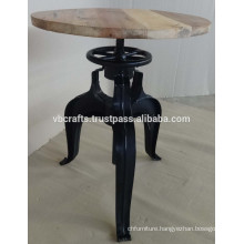 Metal Sheet Crank Coffee Table with Pine Wood Round Top