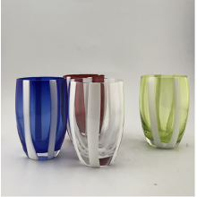 Solid Color Glass Cup With White Strips