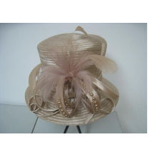 Fancy Church Hats For Women With Colorful Pearls Feathers Braid , Ladies Wedding Hat