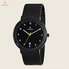 Мужской классический сетки аналоговый Дисплей Японский кварцевый серебряные часы 72345