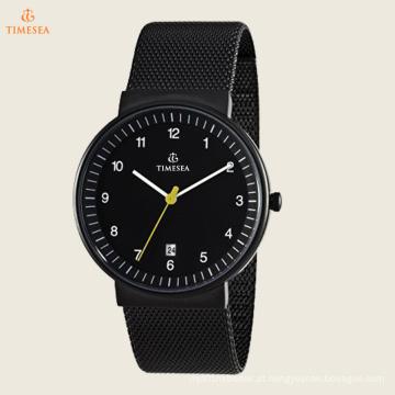 Relógio analógico de quartzo japonês de malha analógico clássico masculino 72345