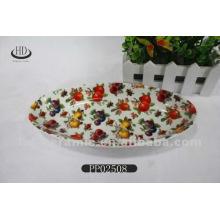Calcomanía completa de placa de fruta de cerámica, placa de porcelana, placa de cerámica con calcomanía