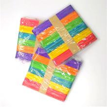 Wholesale 114mm*10mm*2mm colorful birch wooden Popsicle stick diy craft ice cream stick for kids