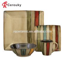 Juego de cena cuadrado de cerámica occidental del esmalte reactivo vendedor caliente