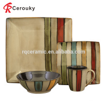 Quente vendendo reativo esmalte ocidental cerâmica jantar quadrado conjunto