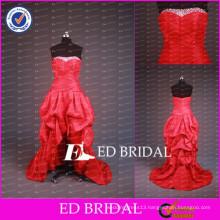 2017 Popular Red Beaded Strapless Taffeta Short Front Long Back Prom Dresses
