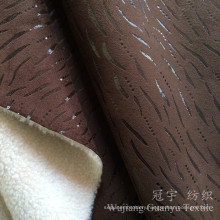 Bronzing Suede 100% Polyester Leather Fabric with Fleece Bonded