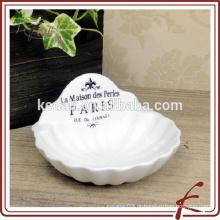 Prato de sabão de porcelana durável de forma especial branco