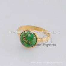 Ручной Работы Позолоченная Зеленый Меди Бирюзовый Драгоценных Камней Кольца Позолоченные Кольца