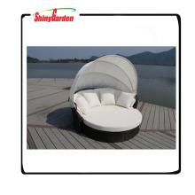 bestes neues Rattanset Luxuriöses Weidensofa-Sonnenbett mit Baldachin runde Form Rattansofabett