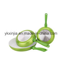 Посуда 3 PCS алюминиевая металлическая краска Fry Pan Set