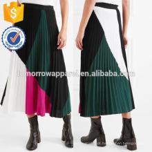 Nova Moda Cor-bloco Plissado De Malha Midi Saia DEM / DOM Fabricação Atacado Moda Feminina Vestuário (TA5170S)