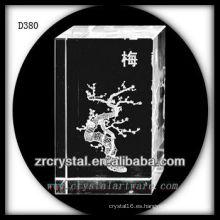 Flor de ciruelo láser K9 3D Rectángulo de cristal interior