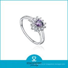 100% artesanal coração 925 anel de jóias de prata com oem / odm (r-0601)