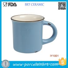 Wholesale Pure Blue Antique Style Ceramic Enamel Mug