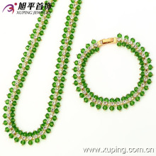 62774 fashion beautiful simple Luxury 2 piece crystal rhinestone gold jewelry sets