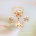 Sun flower cz dubai gold plated jewelry set