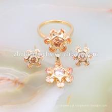 Sol flor cz dubai banhado a ouro conjunto de jóias