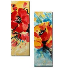 Peinture à l'huile de fleur à 100% artisanale à la main moderne