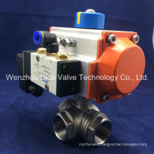 Screw Type Three Way Pneumatic Ball Valve