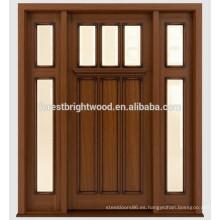 Teñido de caoba tradicional diseño de puertas de madera con vidrio