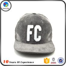 high quality felt logo corduroy snapback cap and hat