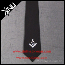 Black Ground White Logo Custom Cheap Silk Masonic Tie