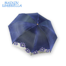 Blue Color Promotional Products Logo Printing Good Price Ladies Lace Parasol 3 Folding UV Umbrella With Service