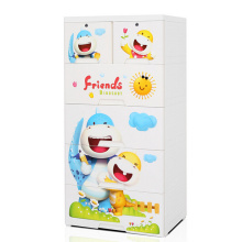 Cartoon Design Printed Plastic Drawer Storage Cabinet (HW-L712)