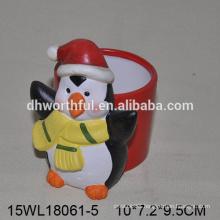 Fashionable penguin design ceramic christmas flower vase