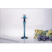 Blue Single Poster Glass Candle Holder for Wedding Decoration
