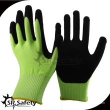 SRSAFETY 2016 13g green nylon liner palm coated sandy nitrile auto repair green gloves