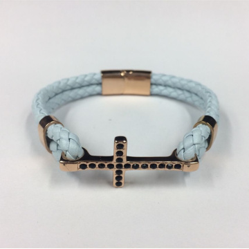 Customized for Wholesale Women'S Leather Bracelet Hot Fashion Cross Stainless Steel With Leather Bracelet supply to South Korea Factories