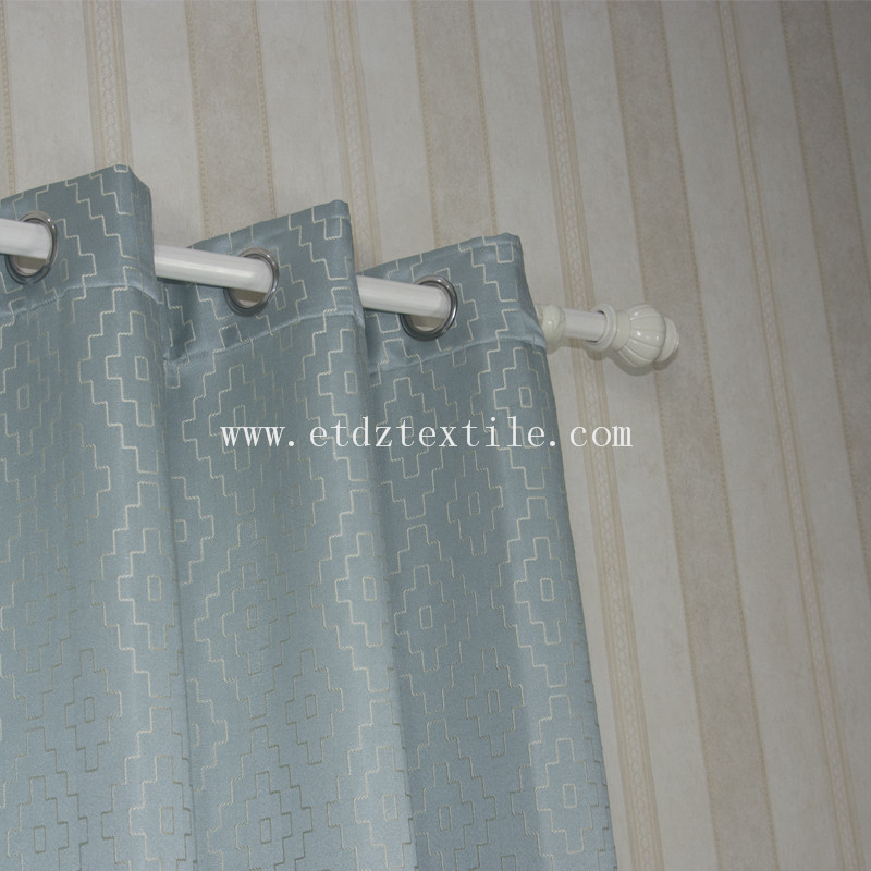 Polyester Embroidery Like Jacquard New Pattern Window  Fabric GF026 Water Blue