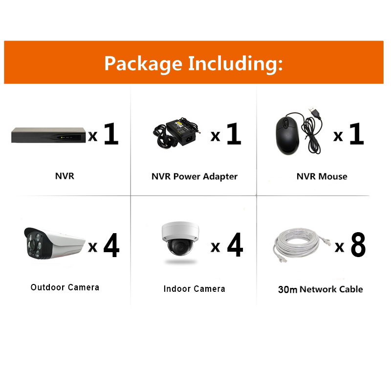 8chs H.265 + 3.0MP POE NVR Kits Security System