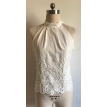 Top de bordado de gasa de algodón sexy para mujer