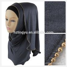 La tendencia de moda dubai mujeres caliente árabe chal jersey y cadena hijab bufanda