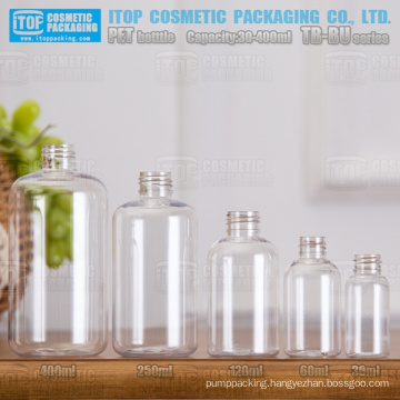 TB-BU Series 30ml 60ml 120ml 250ml 400ml good quality color customizable boston round PET plastic clear bottles