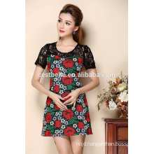 Custom Summer Ladies Short Sleeve Embroidered Party Dress for Women