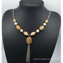 Imitation Jade Sweater Necklace (XJW13755)