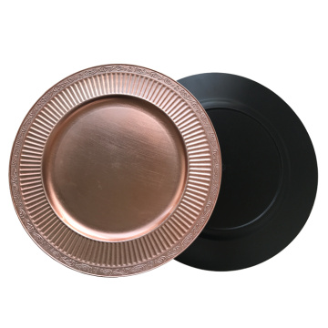 Rose Gold Wave Edge Plastic Charger Plate