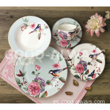 Vajilla nueva de porcelana china Set Garden Bird