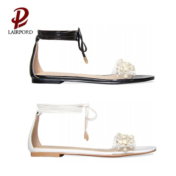 simple cute white black summer flat sandals