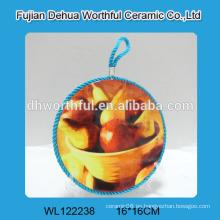 Sostenedor de cerámica personalizada del pote, estera de cerámica del pote con la cuerda azul