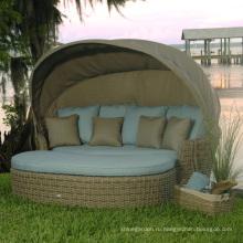 Сад Wicker Патио мебель из ротанга кушетка