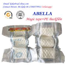 Magic Frontal Tape Película de PE para a Nigéria Mercado Abella Marca Fornecedor de Fralda de Fralda para Bebê