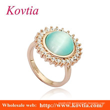 Fashion big opal gold finger rings design for women with price